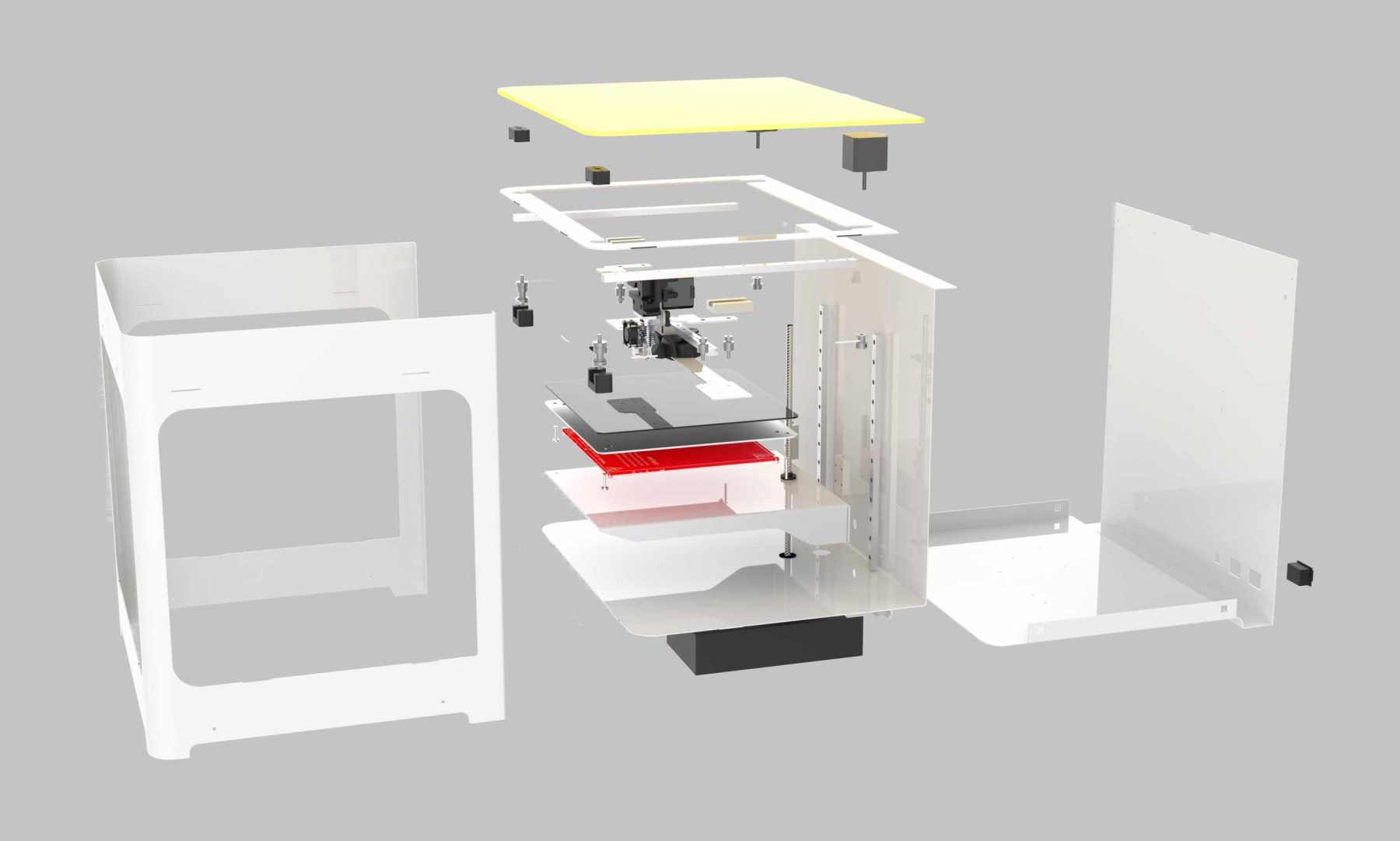 "Exploded view of ""Dood"", FDM 3D printer by Dood Studio and bold-design - www.bold-design.fr"